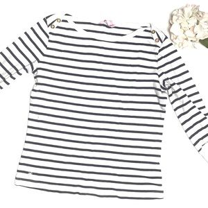 Lilly Pulitzer Striped White/Navy Cotton Shirt
